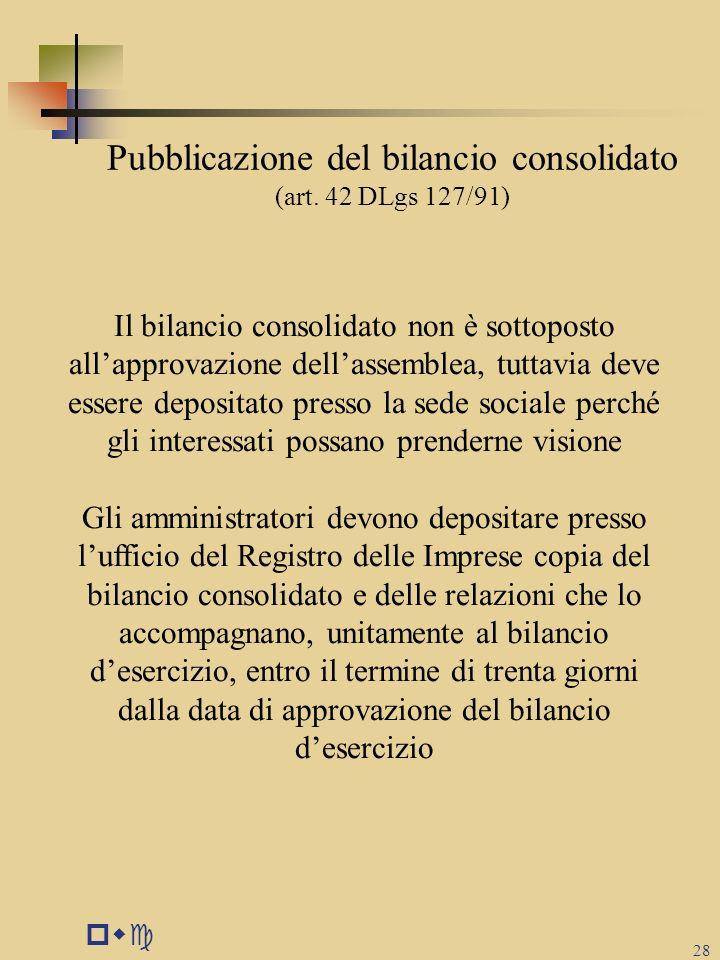 Pubblicazione del bilancio consolidato (art. 42 DLgs 127/91)