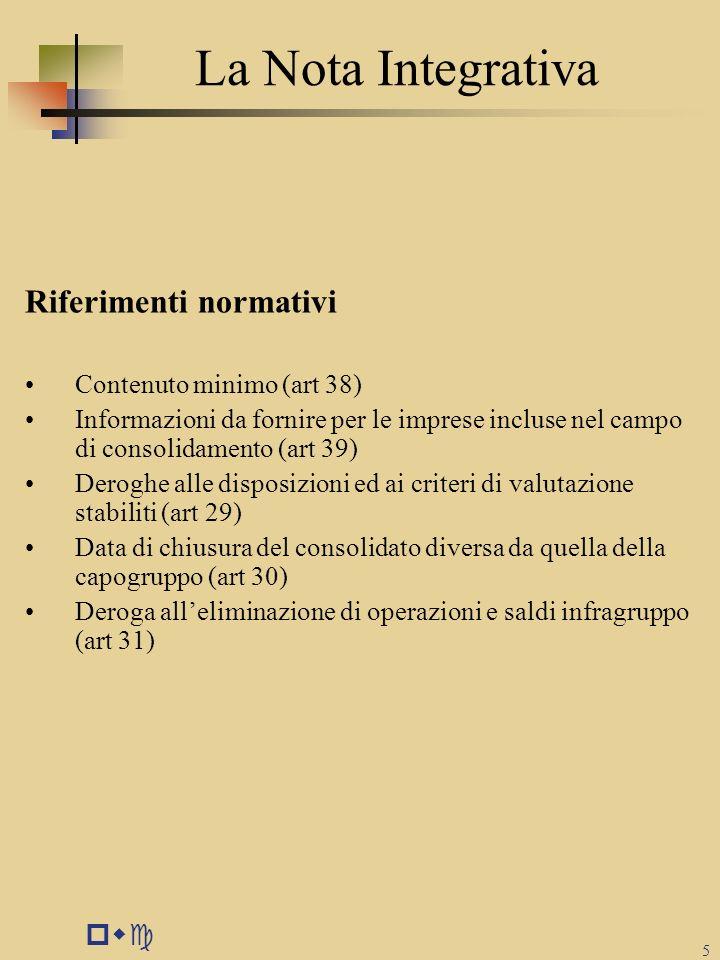 La Nota Integrativa Riferimenti normativi pwc