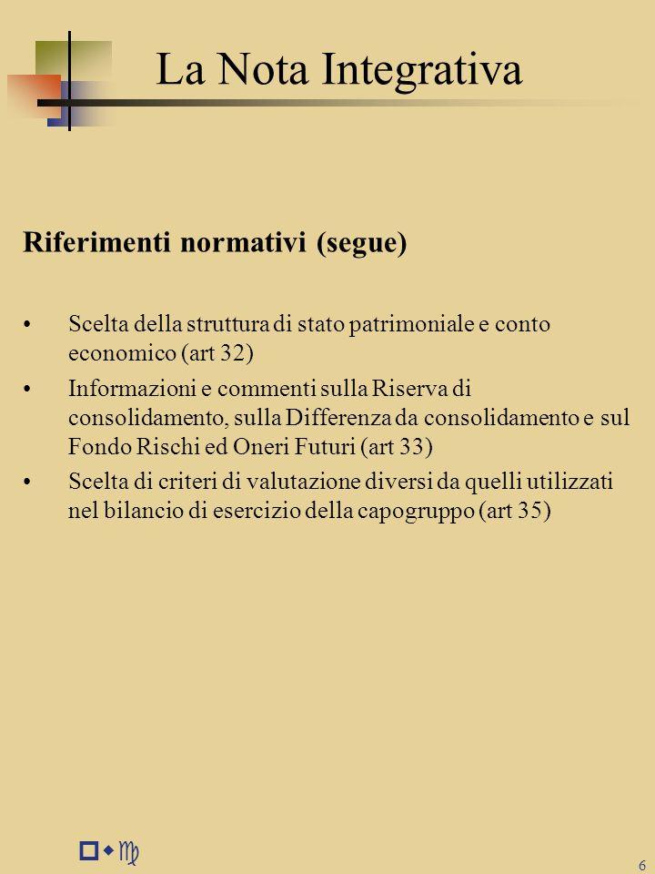 La Nota Integrativa Riferimenti normativi (segue) pwc