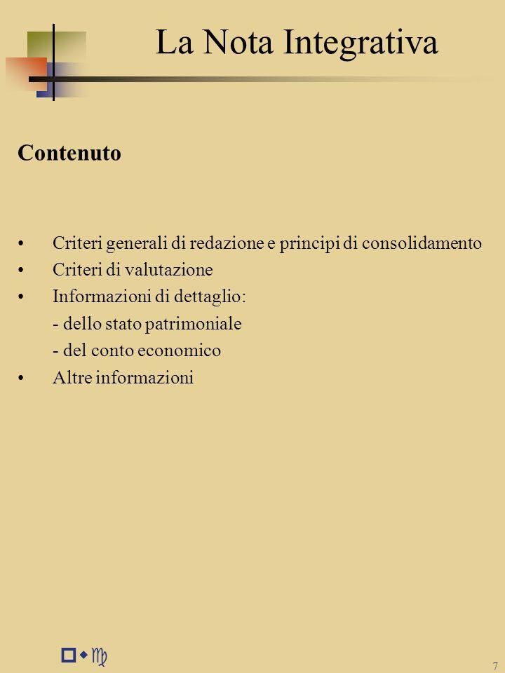 La Nota Integrativa Contenuto pwc