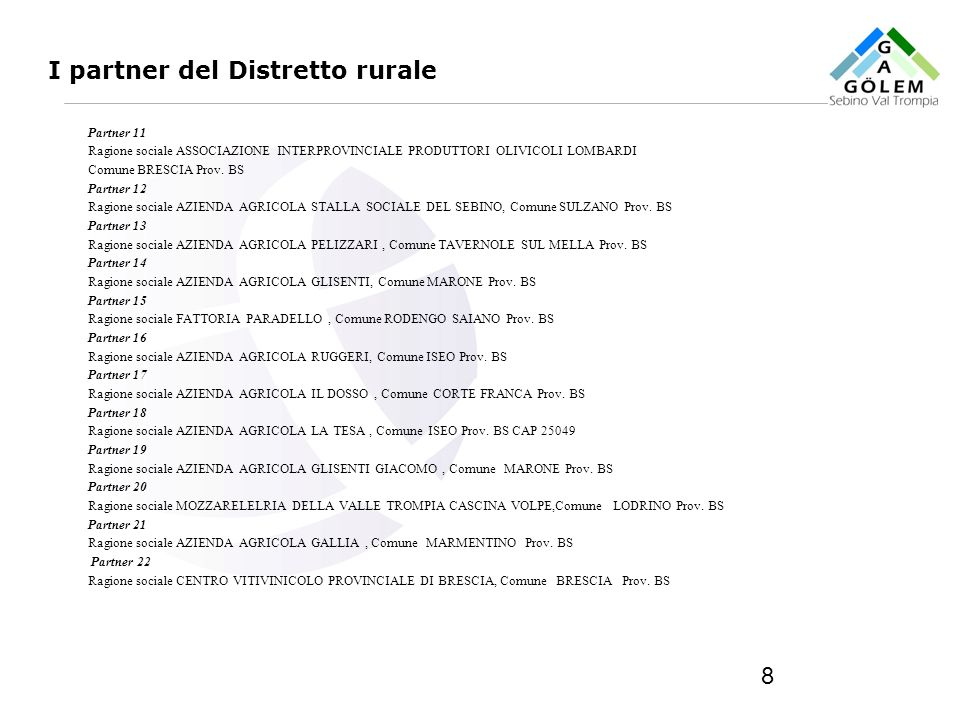 I partner del Distretto rurale