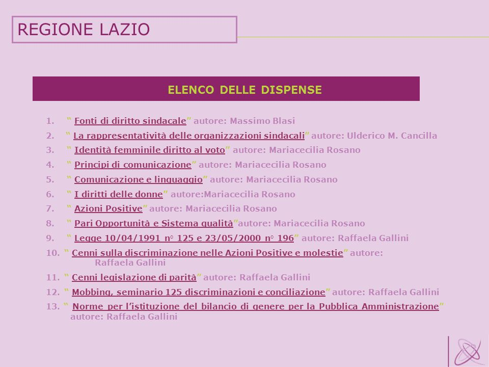 REGIONE LAZIO ELENCO DELLE DISPENSE