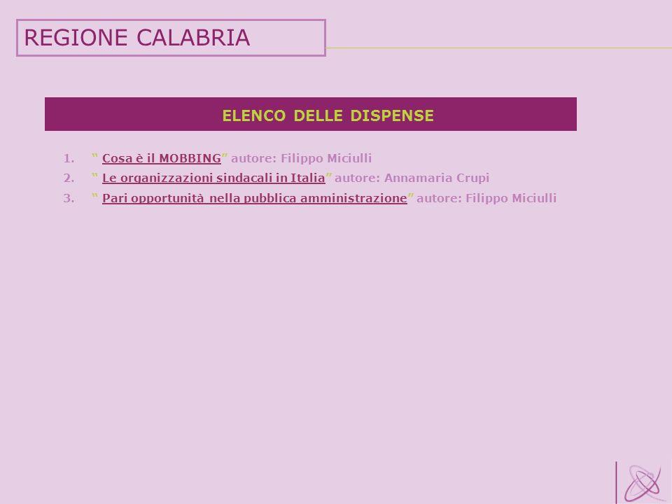 REGIONE CALABRIA ELENCO DELLE DISPENSE
