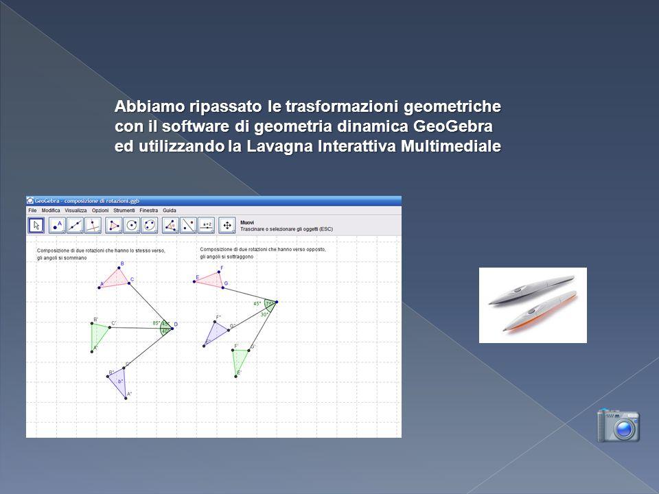 Abbiamo ripassato le trasformazioni geometriche con il software di geometria dinamica GeoGebra ed utilizzando la Lavagna Interattiva Multimediale