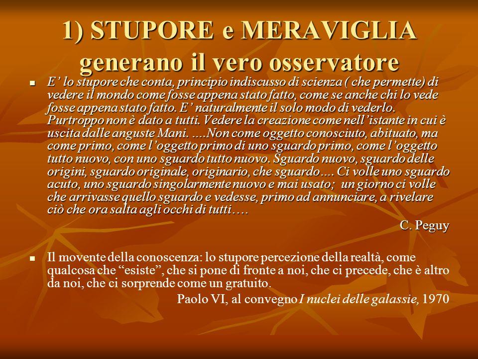 1) STUPORE e MERAVIGLIA generano il vero osservatore