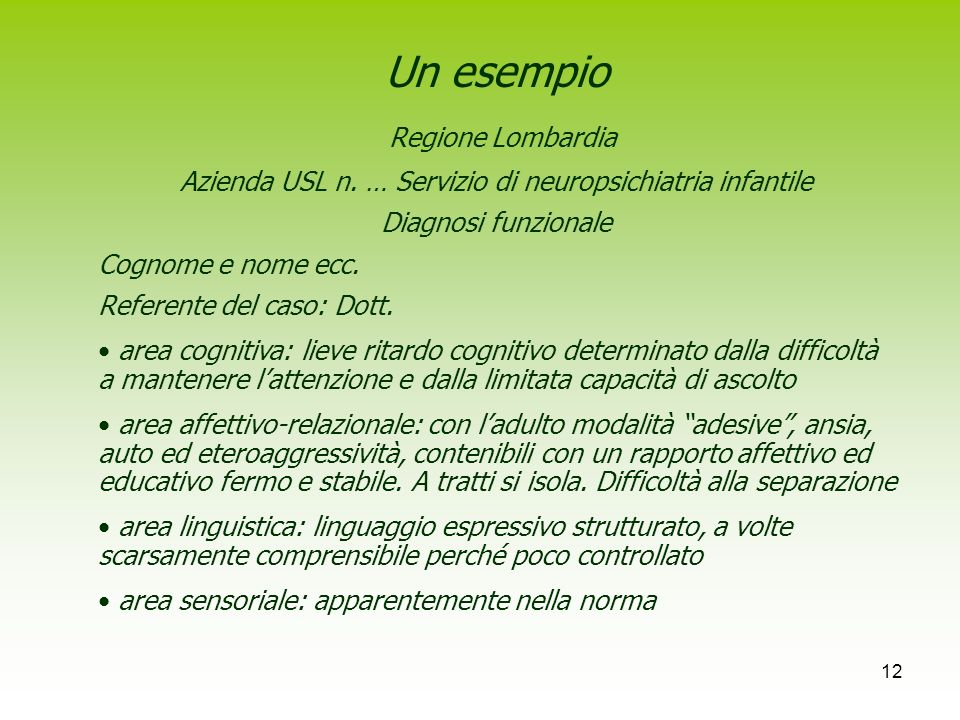 Azienda USL n. … Servizio di neuropsichiatria infantile