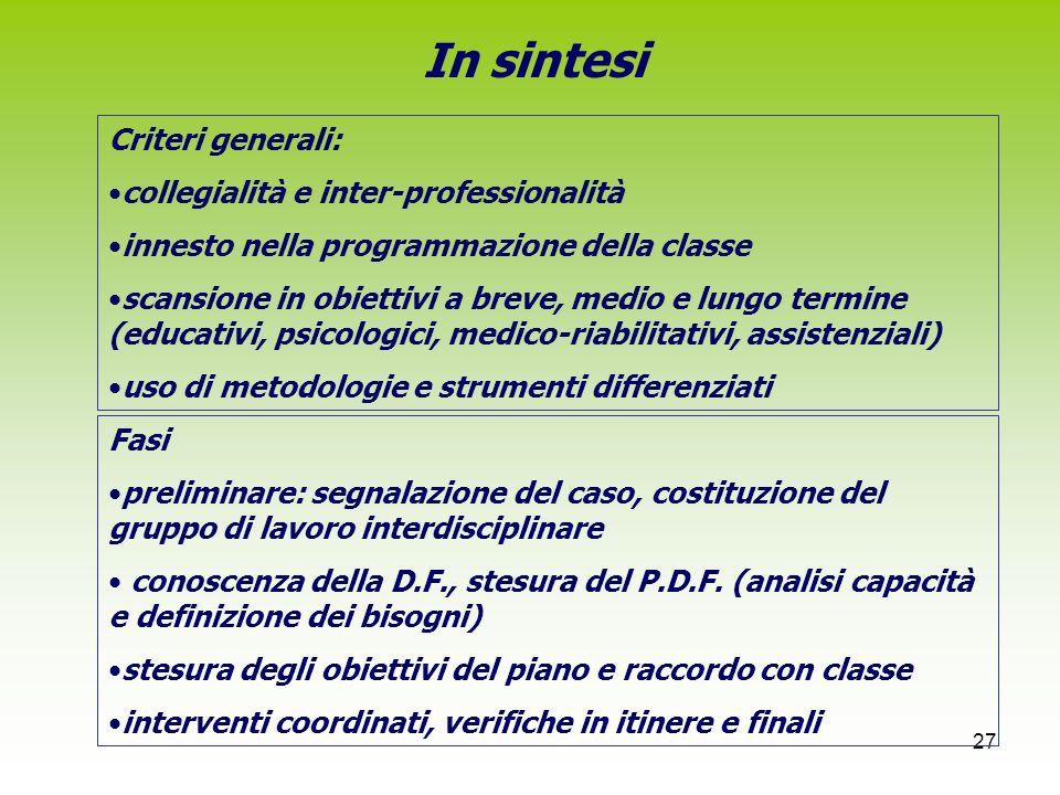 In sintesi Criteri generali: collegialità e inter-professionalità