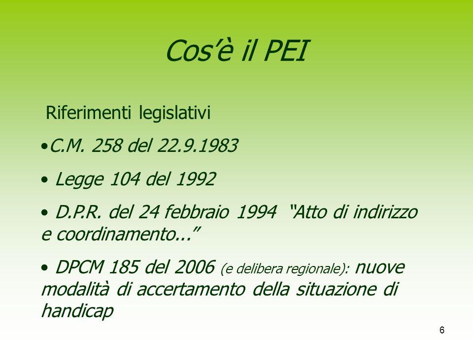 Cos'è il PEI Riferimenti legislativi C.M. 258 del 22.9.1983