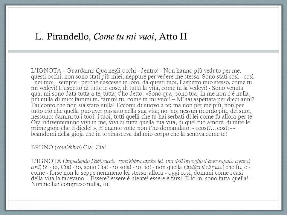 L. Pirandello, Come tu mi vuoi, Atto II