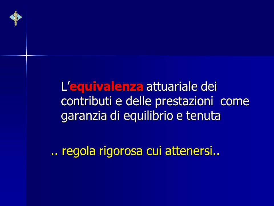 L'equivalenza attuariale dei contributi e delle prestazioni come garanzia di equilibrio e tenuta