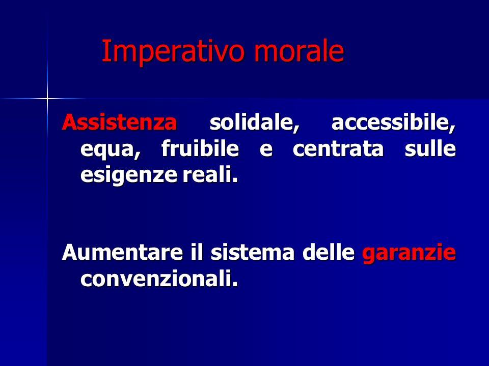 Imperativo morale Assistenza solidale, accessibile, equa, fruibile e centrata sulle esigenze reali.