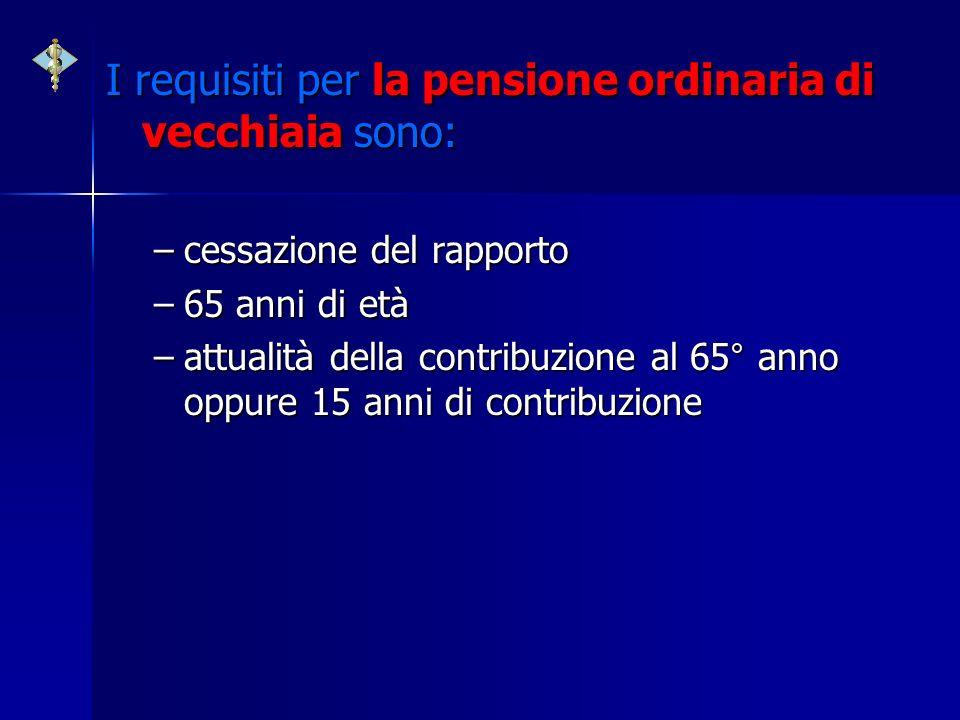 I requisiti per la pensione ordinaria di vecchiaia sono: