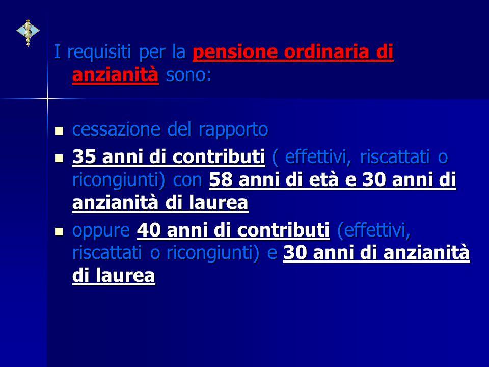 I requisiti per la pensione ordinaria di anzianità sono: