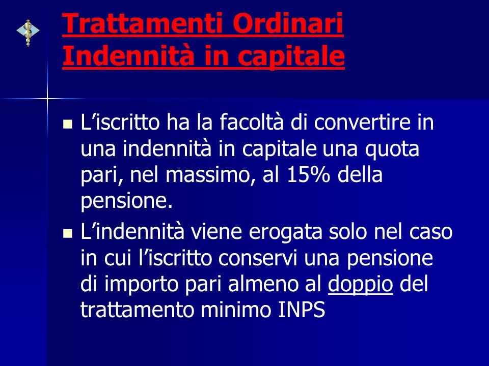 Trattamenti Ordinari Indennità in capitale