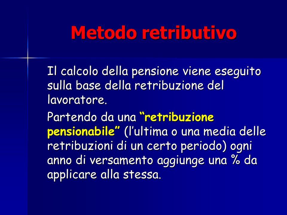 Metodo retributivoIl calcolo della pensione viene eseguito sulla base della retribuzione del lavoratore.