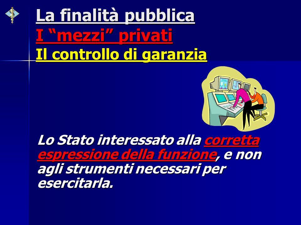La finalità pubblica I mezzi privati Il controllo di garanzia
