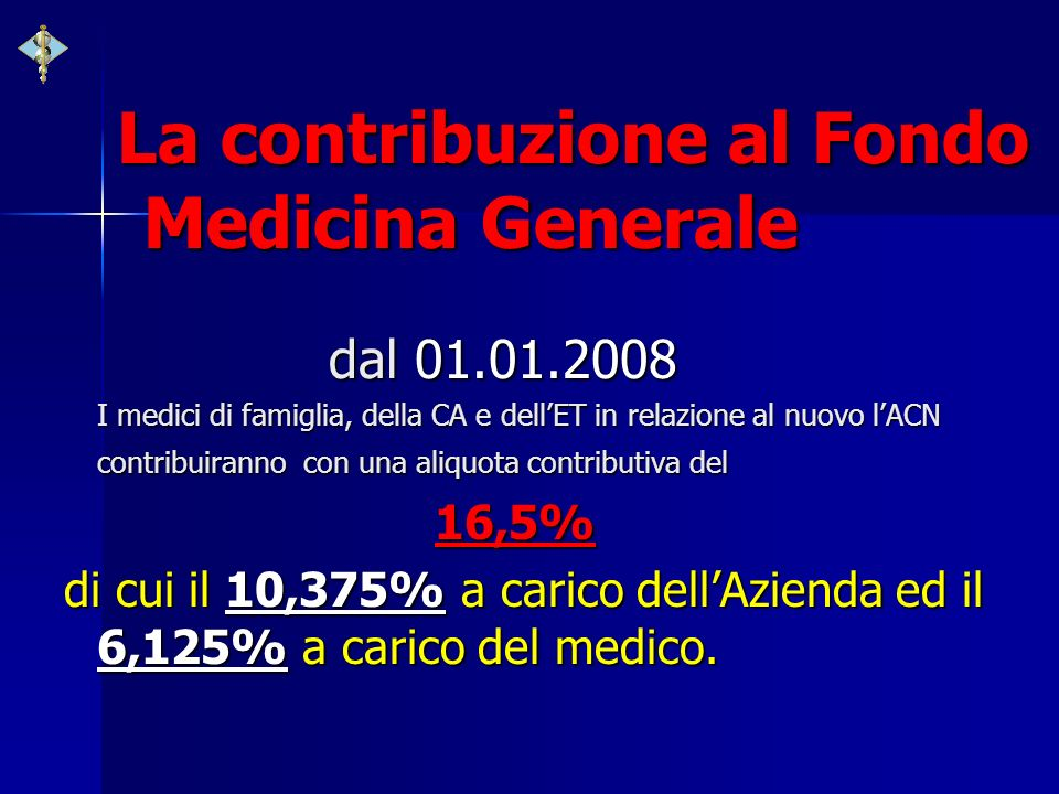 La contribuzione al Fondo Medicina Generale