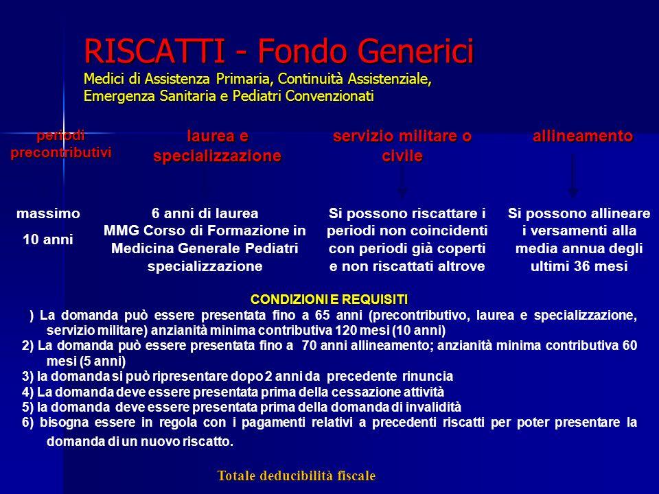 RISCATTI - Fondo Generici Medici di Assistenza Primaria, Continuità Assistenziale, Emergenza Sanitaria e Pediatri Convenzionati