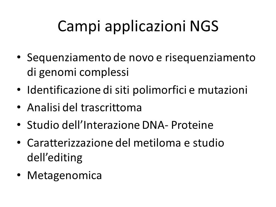 Campi applicazioni NGS