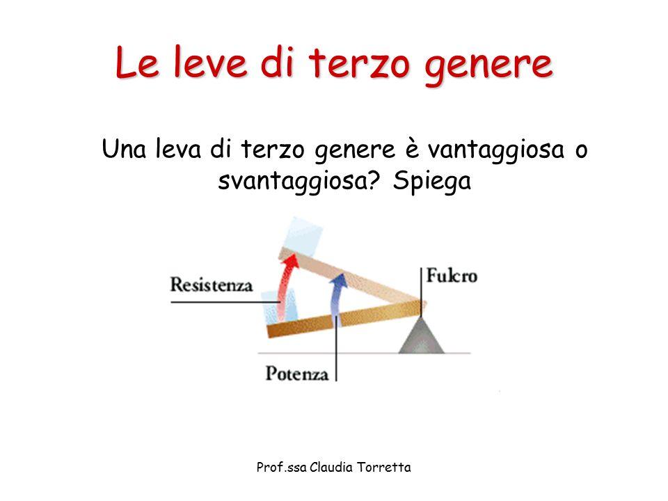 Le leve di terzo genere Una leva di terzo genere è vantaggiosa o svantaggiosa.