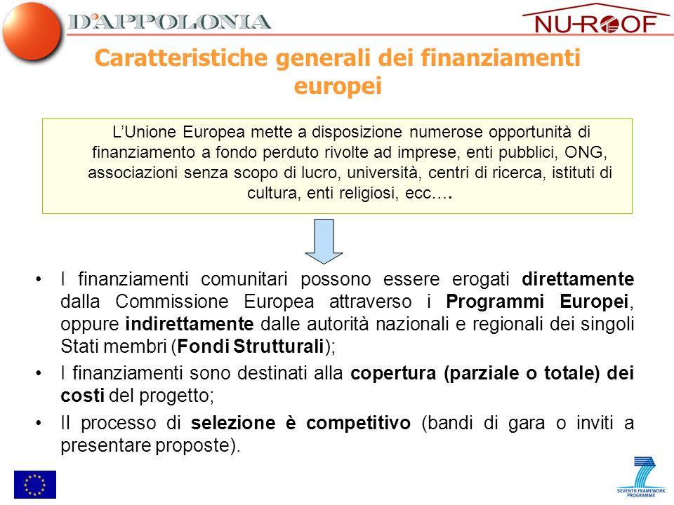 Caratteristiche generali dei finanziamenti europei