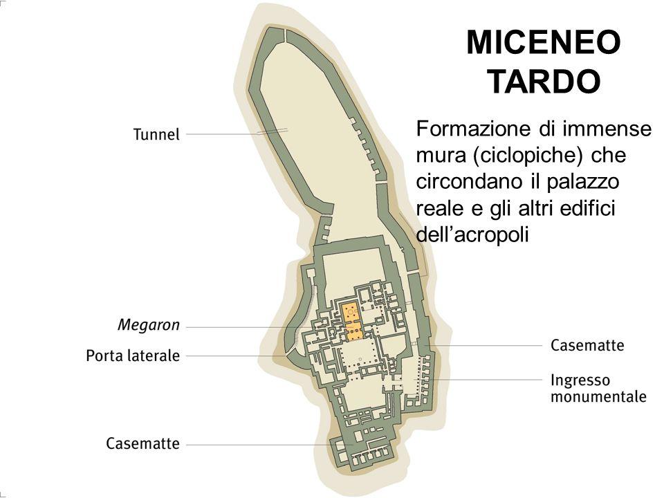 MICENEO TARDO Formazione di immense mura (ciclopiche) che circondano il palazzo reale e gli altri edifici dell'acropoli.