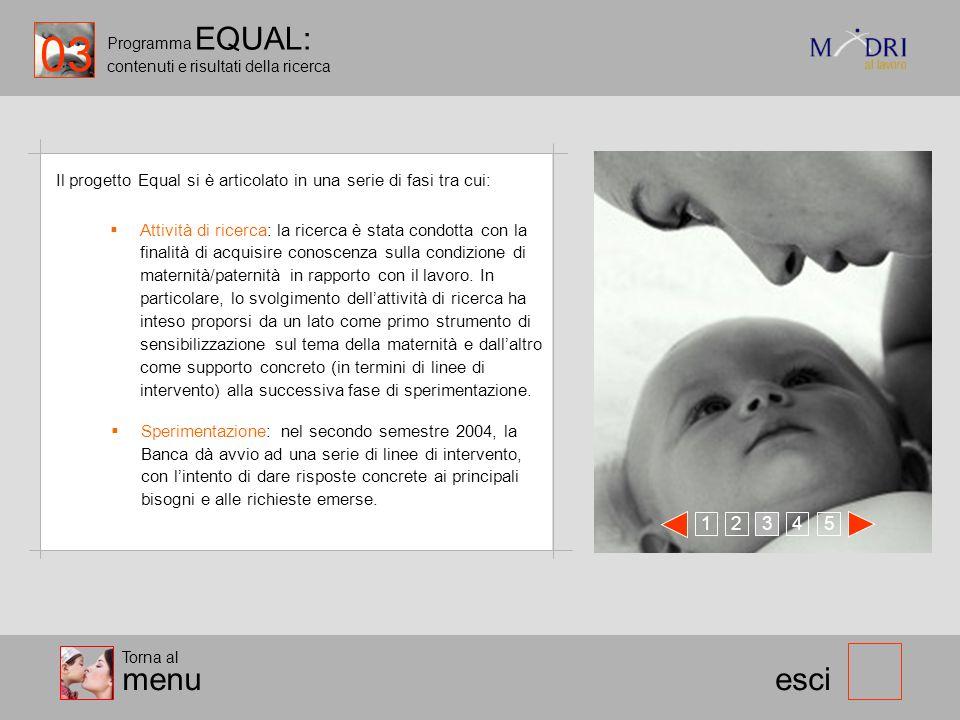 03 Programma EQUAL: contenuti e risultati della ricerca. Il progetto Equal si è articolato in una serie di fasi tra cui:
