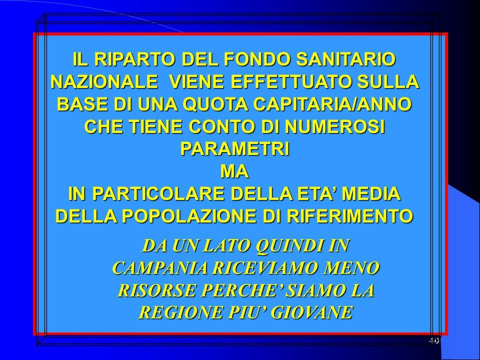 IN PARTICOLARE DELLA ETA' MEDIA DELLA POPOLAZIONE DI RIFERIMENTO