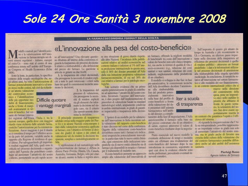 Sole 24 Ore Sanità 3 novembre 2008