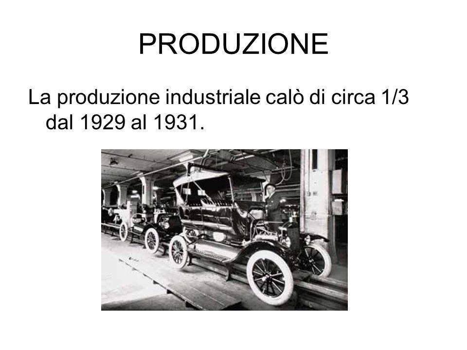 PRODUZIONE La produzione industriale calò di circa 1/3 dal 1929 al 1931.