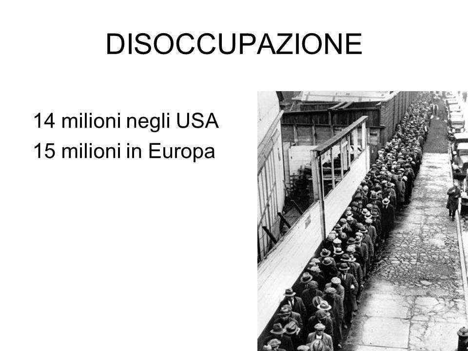 DISOCCUPAZIONE 14 milioni negli USA 15 milioni in Europa