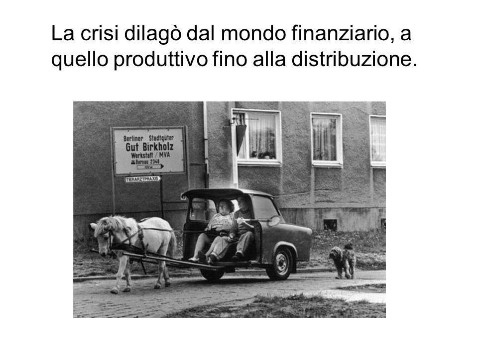 La crisi dilagò dal mondo finanziario, a quello produttivo fino alla distribuzione.