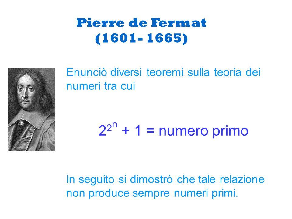 22n + 1 = numero primo Pierre de Fermat (1601- 1665)