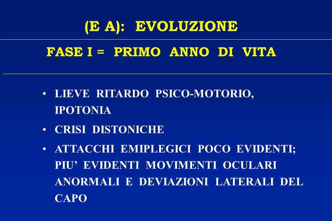 FASE I = PRIMO ANNO DI VITA