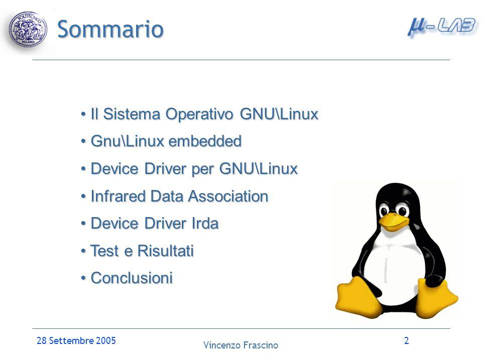 Sommario Il Sistema Operativo GNU\Linux Gnu\Linux embedded