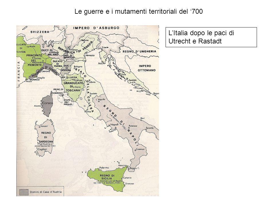 Le guerre e i mutamenti territoriali del '700