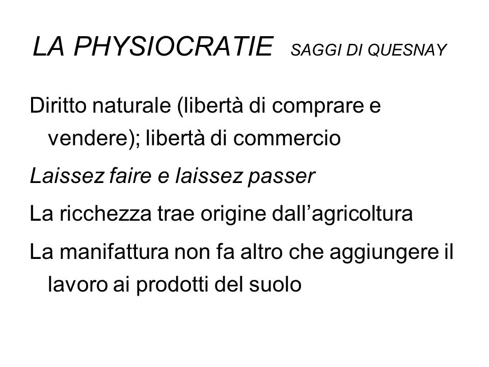 LA PHYSIOCRATIE SAGGI DI QUESNAY