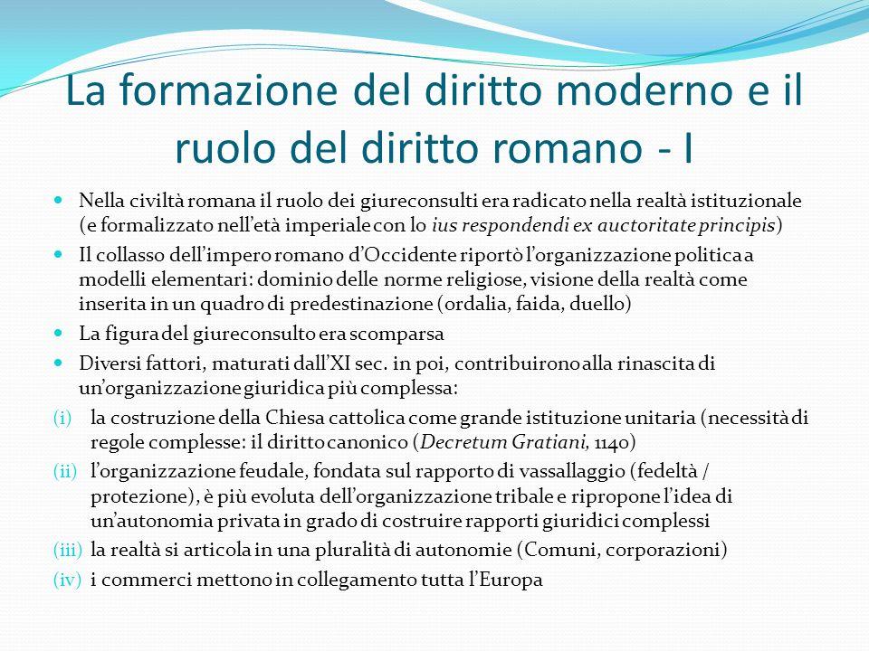 La formazione del diritto moderno e il ruolo del diritto romano - I