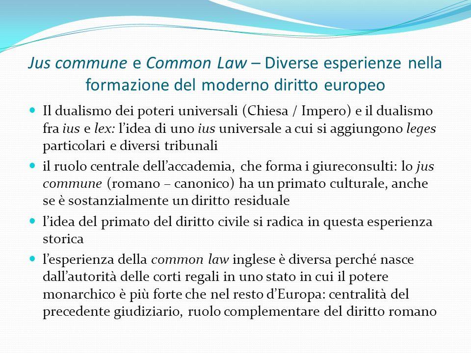 Jus commune e Common Law – Diverse esperienze nella formazione del moderno diritto europeo