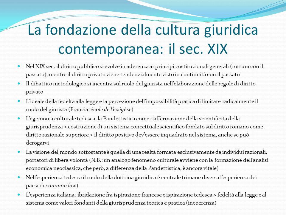 La fondazione della cultura giuridica contemporanea: il sec. XIX