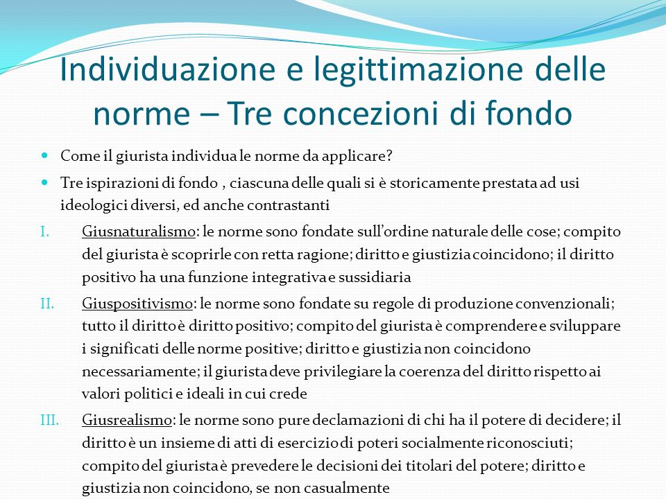 Individuazione e legittimazione delle norme – Tre concezioni di fondo