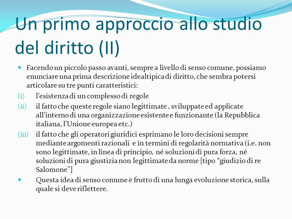 Un primo approccio allo studio del diritto (II)