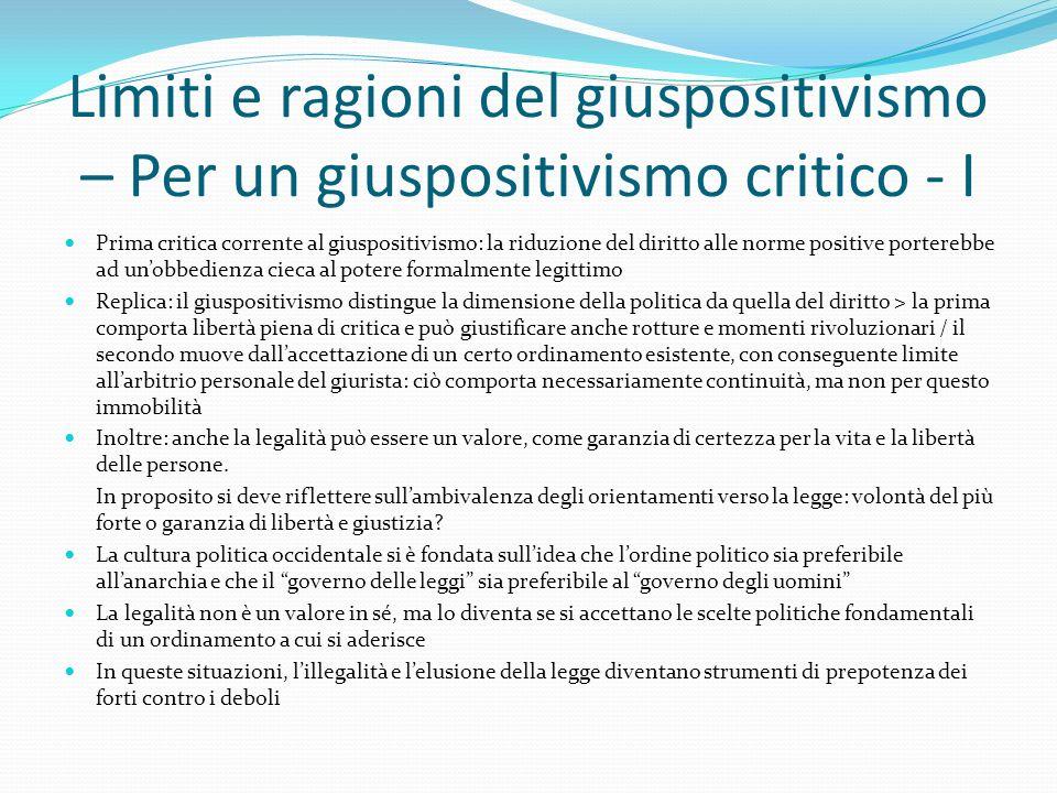 Limiti e ragioni del giuspositivismo – Per un giuspositivismo critico - I