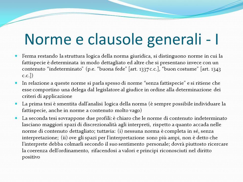 Norme e clausole generali - I