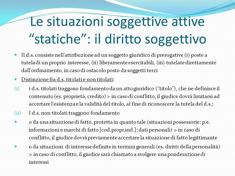 Le situazioni soggettive attive statiche : il diritto soggettivo
