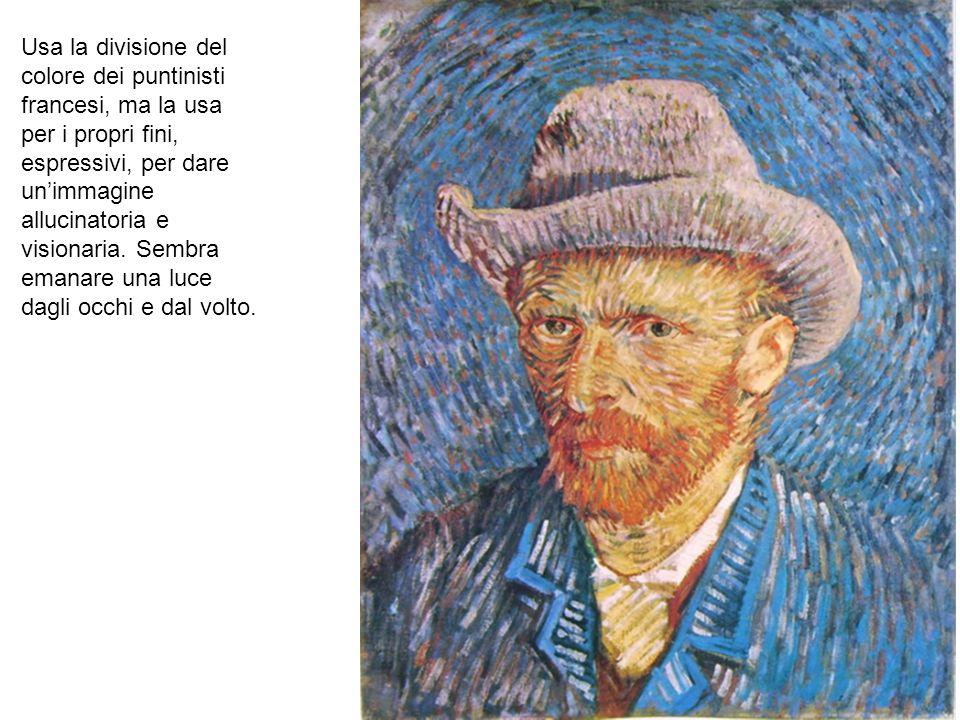 Usa la divisione del colore dei puntinisti francesi, ma la usa per i propri fini, espressivi, per dare un'immagine allucinatoria e visionaria. Sembra emanare una luce dagli occhi e dal volto.