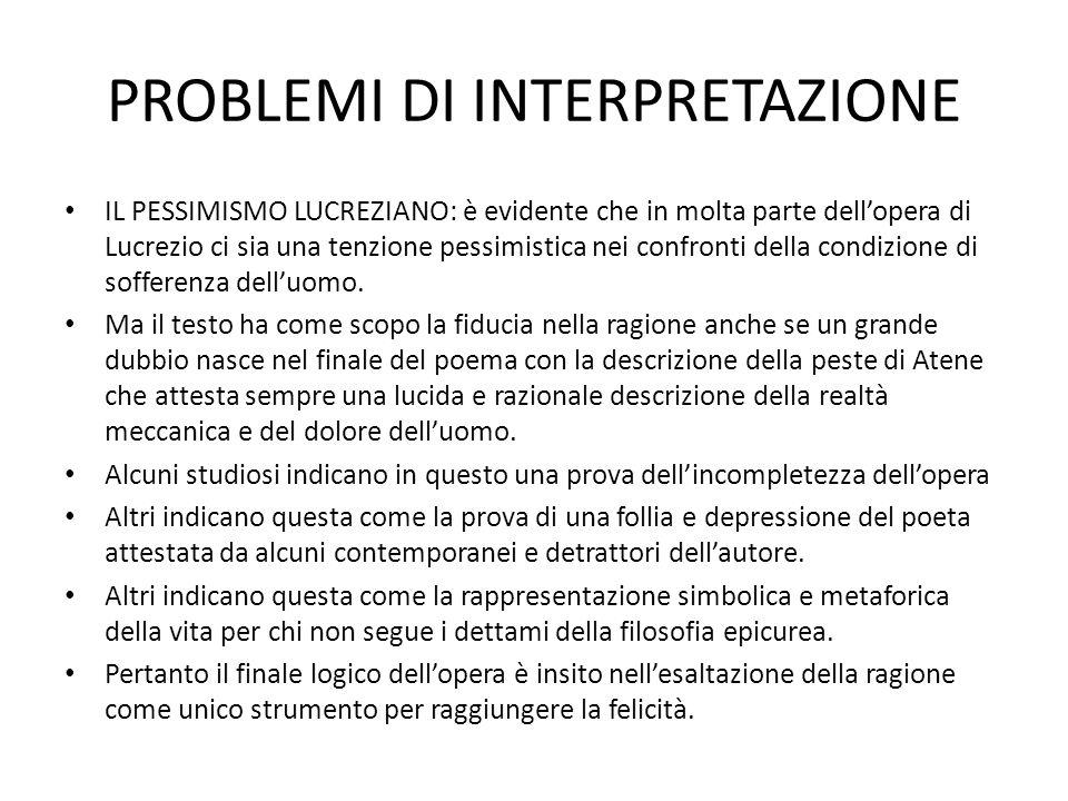 PROBLEMI DI INTERPRETAZIONE