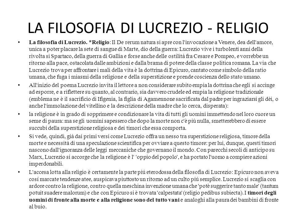 LA FILOSOFIA DI LUCREZIO - RELIGIO