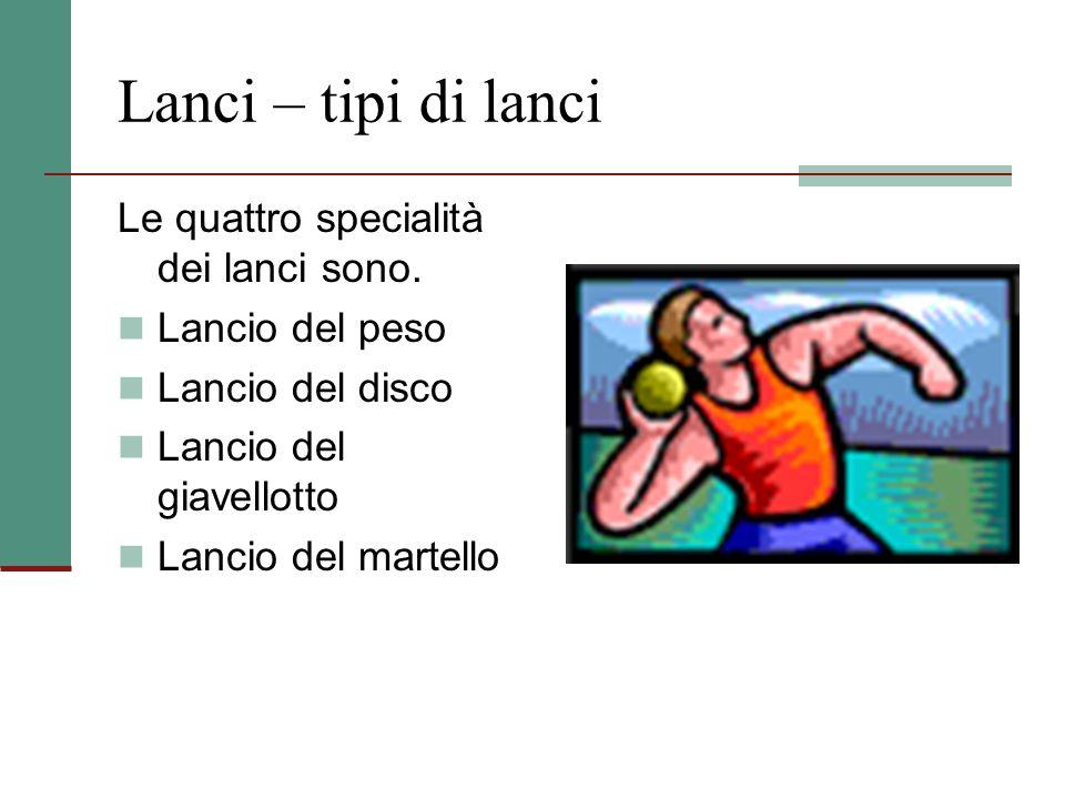 Lanci – tipi di lanci Le quattro specialità dei lanci sono.
