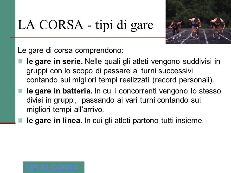 LA CORSA - tipi di gare Le gare di corsa comprendono: